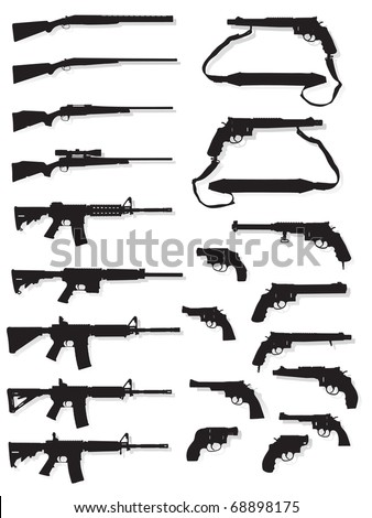 gun silhouette collection on