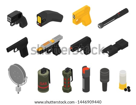 Gun vector military nonlethal weapon grenade-gun army handgun and war automatic firearm with bullet illustration set of stun gas shotgun or grenade launcher isolated on white background