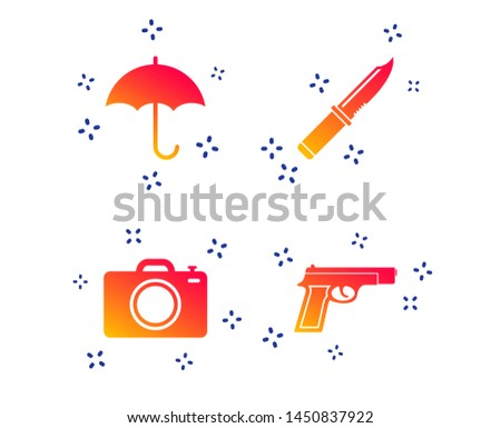 Gun weapon icon.Knife, umbrella and photo camera signs. Edged hunting equipment. Prohibition objects. Random dynamic shapes. Gradient knife icon. Vector