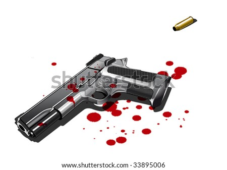 Gun with blood stains, Illustration