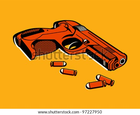 gun with bullets in retro three