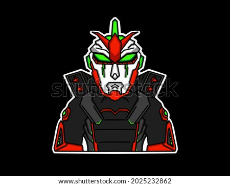 gundam robot icon with black