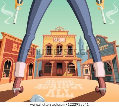 Gunfight in wild west town