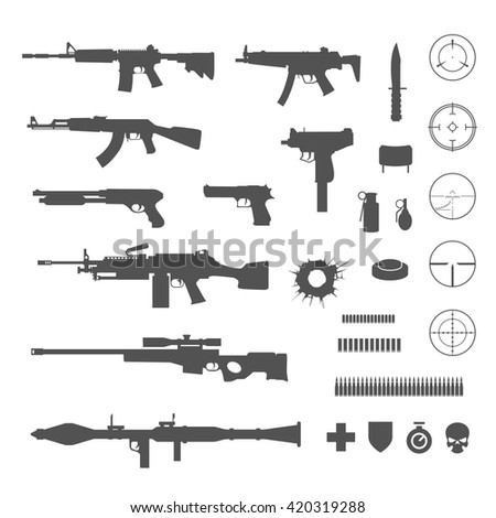 guns and game elements icons