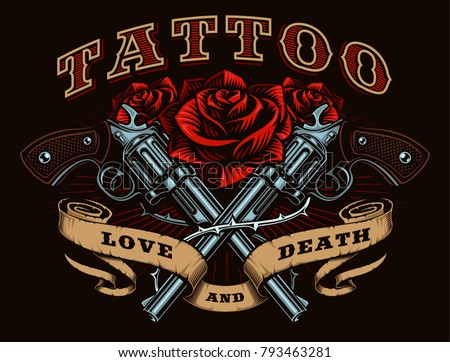 Guns and roses tattoo design. Tattoo art with revolvers, roses and vintage ribbon, shirt graphic. All elements, text, colors are on the separate layer.