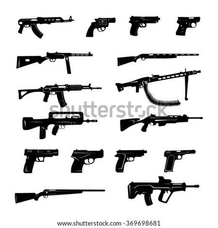 guns black and white icons