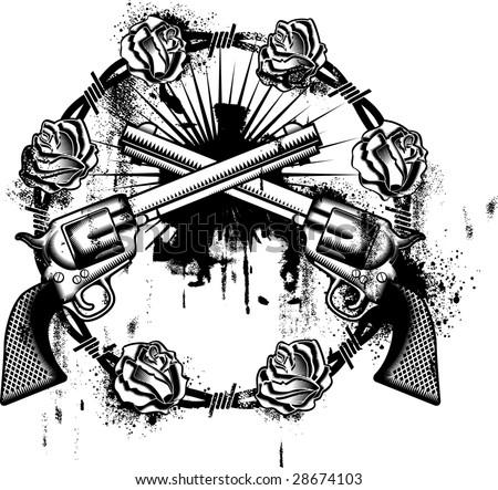 stock vector guns emblem whit roses