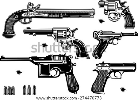 guns  old and modern pistols