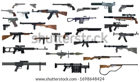 Guns set. Types of guns. Big guns