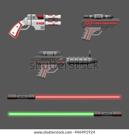 guns set video game weapons