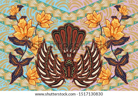 Gurda Batik Motif. This motif consists of two wings (lar) and in the middle there is a body and tail. Gurda comes from the word Garuda, the big bird has an important position in Javanese society Zdjęcia stock ©