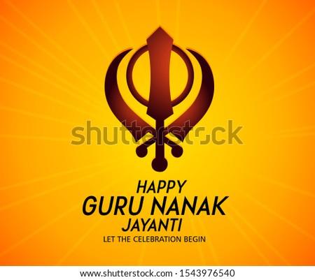 Guru nanak jayanti Gurpurab, also known as Guru Nanak's Prakash Utsav  celebrates the birth of the first Sikh Guru Creative illustration,poster or banner