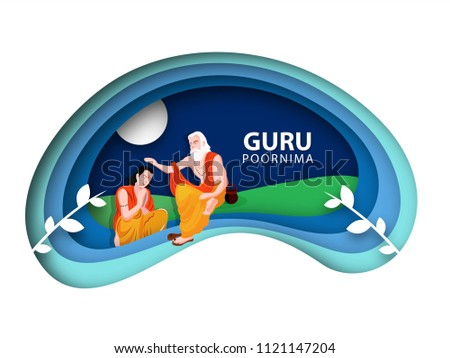 Guru Purnima concept, of paper cutout pattern, illustration of full moon night