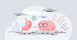Gut brain connection as friendly inner organ characters tiny person concept. Interaction, cooperation and health effects from emotions and thoughts to stomach digestive system vector illustration.