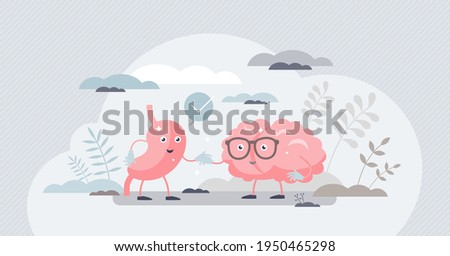 Gut brain connection as friendly inner organ characters tiny person concept. Interaction, cooperation and health effects from emotions and thoughts to stomach digestive system vector illustration. Stock foto ©