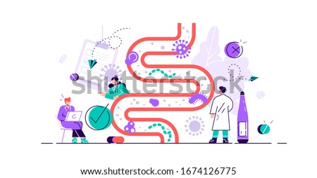 Gut flora vector illustration. Flat tiny gastrointestinal microbe person concept. Abstract digestive stomach living organisms for healthy life. Lactobacilli, coli and intestinal system environment. Stock foto ©