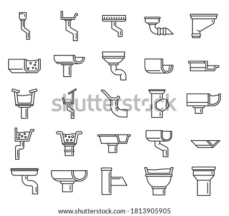 Gutter drain icons set. Outline set of gutter drain vector icons for web design isolated on white background Photo stock ©