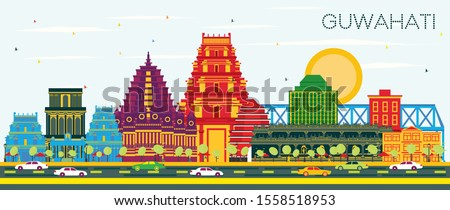 Guwahati India City Skyline with Color Buildings and Blue Sky. Vector Illustration. Business Travel and Tourism Concept with Historic Architecture. Guwahati Cityscape with Landmarks.