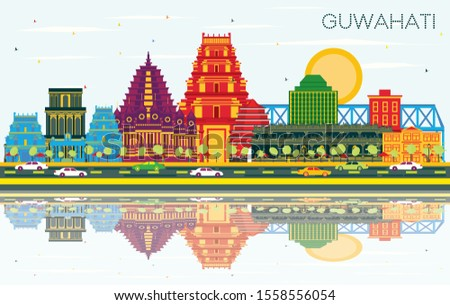Guwahati India City Skyline with Color Buildings, Blue Sky and Reflections. Vector Illustration. Business Travel and Tourism Concept with Modern Architecture. Guwahati Cityscape with Landmarks.