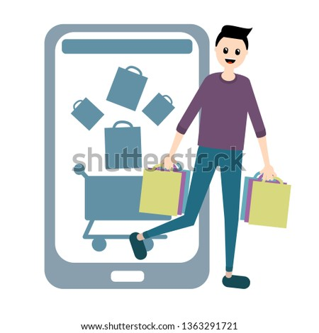 guy buys returned goods from online shop of shopping bags,picture trading companies, sales via the phone or app,icons basket and smartphone,to purchase products or clothing