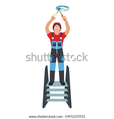 Guy changing lightbulbs icon. Flat illustration of guy changing lightbulbs vector icon for web design