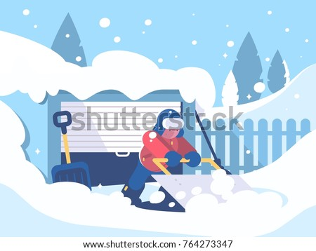 guy cleans snow after snowfall
