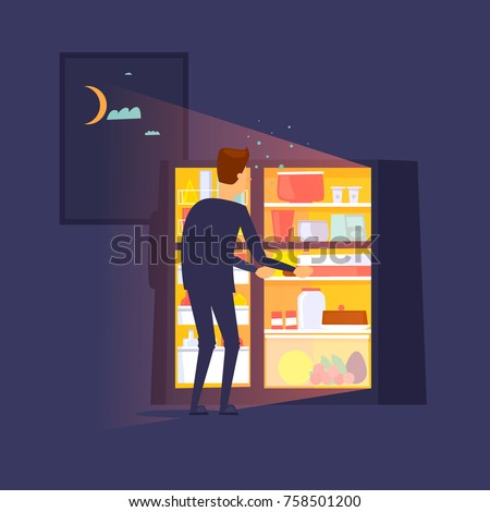 Guy climbed into the refrigerator at night. Flat design vector illustration.