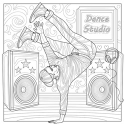Guy dancing breakdance. Coloring book antistress for children and adults. Illustration isolated on white background.Zen-tangle style. Hand draw