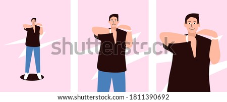 Guy dancing king-tut, vector illustration. A kind of upper breakdance. Robotic arm movements. Happy face in the dance. Stock photo ©