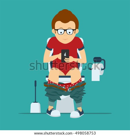 Guy hipster sits on toilet bowl with phone in hands. Toilet bowl, toilet paper and brush for toilet bowl.  stock vector illustration.