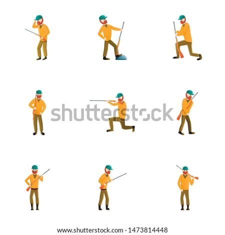 guy hunting icon set cartoon