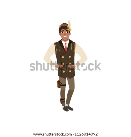 guy in steampunk costume posing