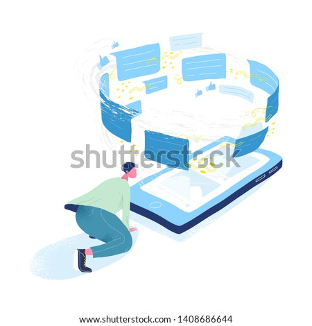 Guy looking at giant mobile phone and tornado of messages. Concept of information flow, communication via messenger, data transfer, instant messaging, modern technology. Flat vector illustration.
