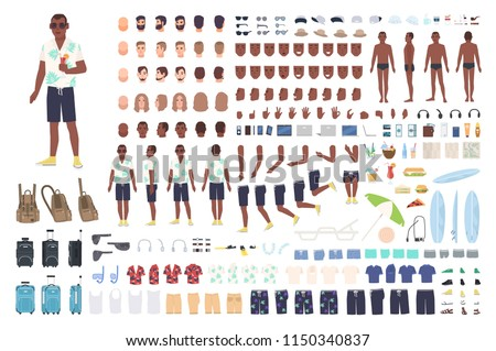 Guy on vacation animation or DIY kit. Collection of male tourist body elements, gestures, clothes, touristic equipment isolated on white background. Colored vector illustration in flat cartoon style.