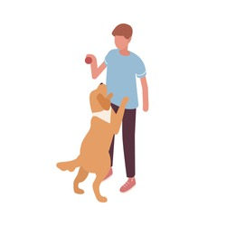 Guy playing with dog hold ball vector isometric illustration. Colorful owner and pet having fun together isolated on white. Doggy stand on rear paws. Friendship between man and domestic animal