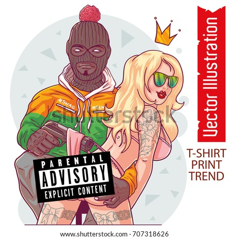 Guy rapper in ski mask with sexy girl. Man with girl vector. Hip hop, rap star posing with sexy girl. Girl with sexy underwear, lace. Cover rap album. Isolated vector illustration on white background.
