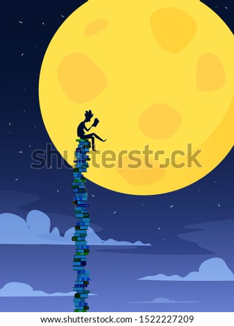 Guy reads a book while sitting on a huge stack of books. Love to read concept illustration. Vector