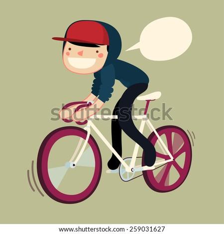 guy riding bike cartoon