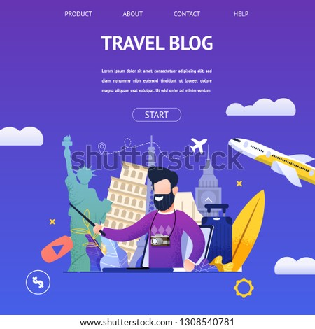 Guy Shoots Video Travel Blog to Another Country. Banner Illustration Bearded Man in Camera, Background Attractions Different Countries, Tells Online Most Beautiful Places. Traveling World by Plane