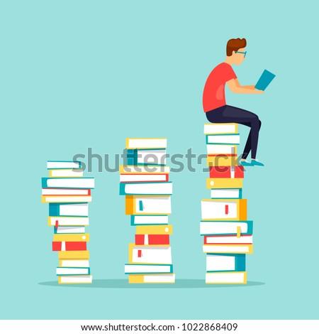 Guy sits on books reading. Flat design vector illustration.