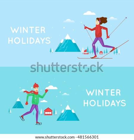 guy skating and girl on skis