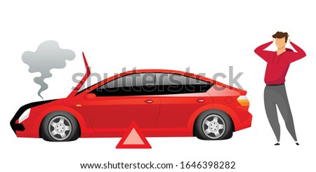 Guy standing by broken car flat color vector faceless character. Automobile breakdown isolated cartoon illustration for web graphic design and animation. Stunned owner near smoking sedan