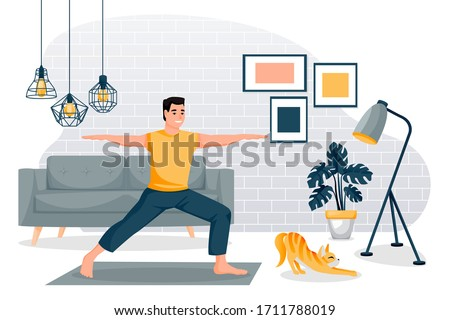 Guy stands in a warrior pose virabhadrasana. Home yoga exercise practice. Man and red cute cat training in modern loft room. Vector characters illustration. Healthy lifestyle and relaxing time at home