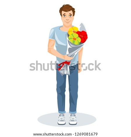 Guy with a bunch of flowers cartoon image