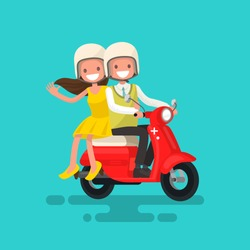 Guy with a girl riding on a motorcycle. Vector illustration