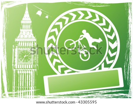 guy with bmx in london city green and white color