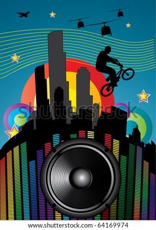 guy with bmx on city landscape with sound speaker