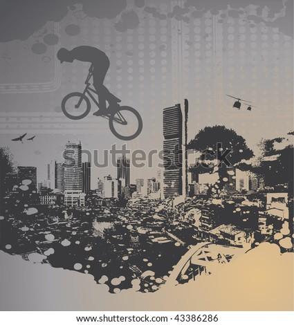 guy with bmx on city landscape with splash