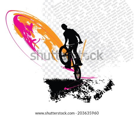 Guy with bmx. Vector