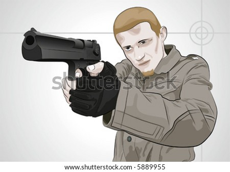 Guy with Desert Eagle .50 AE, vector